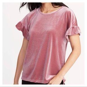 Old Navy Pink Velvet Glitter Ruffle Sleeve T-Shirt